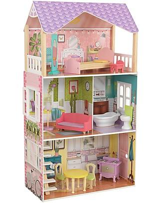 KidKraft Casa delle Bambole Poppy con Porta e Finestre Funzionali - Legno Case delle Bambole