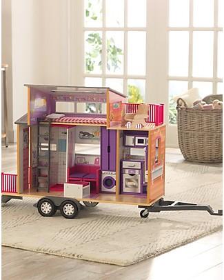 KidKraft Casa delle Bambole su Ruote Teeny House con Gancio - Legno Case delle Bambole