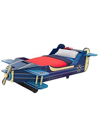 KidKraft Lettino per Bambini Stile Aeroplano con Vano Portaoggetti - Legno Letti Singoli