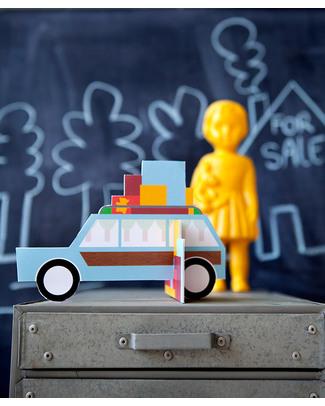 Kidsonroof Biglietto Pop Out Vacanze/Cambio Casa - Holidays (Cartone Riciclato e Biodegradabile!) Biglietti Di Auguri