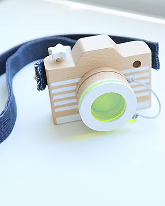 Kiko+ and gg* Macchina Fotografica in Legno, Giallo - Comprende lente colorata e cinghie! Construzioni In Legno