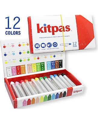 Kitpas 12 Pastelli ad Olio Medium - Disegnano su carta e vetro e si cancellano! Colorare