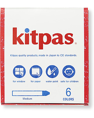 Kitpas 6 Pastelli ad Olio Medium - Disegnano su carta e vetro e si cancellano! Colorare