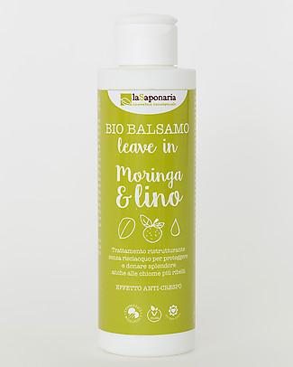 La Saponaria Balsamo Leave In Moringa e Lino, Linea Semi di Lino, 150 ml - Anti-crespo Bagno Doccia Shampoo