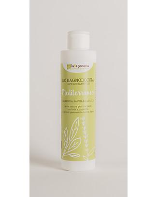 La Saponaria Bio Bagnodoccia Mediterraneo, 200 ml - Per pelli secche Bagno Doccia Shampoo