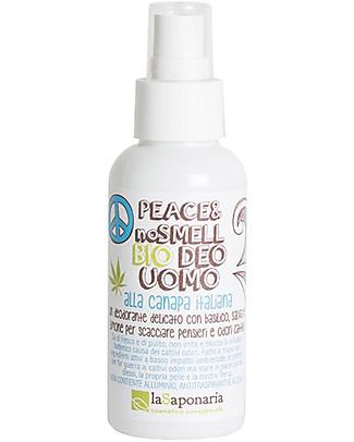 """La Saponaria Bio Deodorante Uomo """"Peace & No Smell"""", Canapa e Salvia - 100 ml Deodoranti"""
