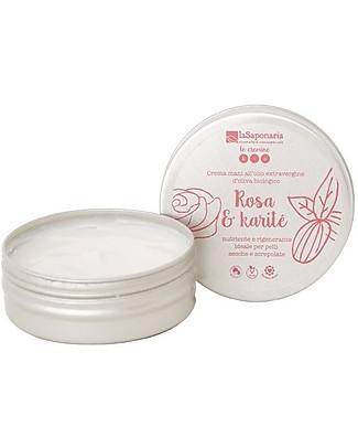 La Saponaria Crema Mani Rosa e Karité, 60 ml - Per Pelli Secche e Screpolate Creme e Olii