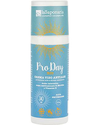 La Saponaria Crema Viso Anti-Age Pro Day SPF 30, 50 ml - Alta Protezione dal Sole Solari
