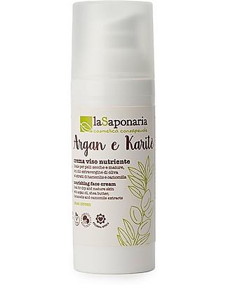 La Saponaria Crema Viso Nutriente con Karité e Argan, 50 ml - Idrata le Pelli Secche Viso