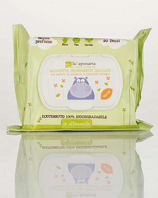 La Saponaria Salviette Detergenti Delicate, 20 pezzi - Senza profumazione, 100% biodegradabii Salviette Bimbo