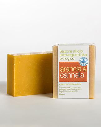 La Saponaria Sapone all'Olio Extravergine d'Oliva - Arancia e Cannella, 100 gr - Con Vitamina E  Bagno Doccia Shampoo