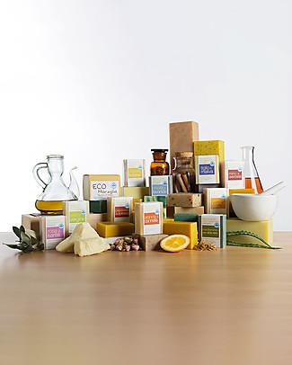 La Saponaria Sapone all'Olio Extravergine d'Oliva, Calendula e Germe di Grano, 100 gr - Emolliente e lenitivo Bagno Doccia Shampoo