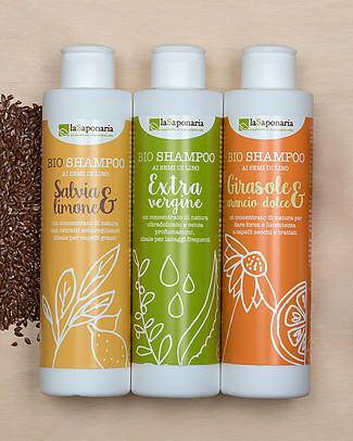 La Saponaria Shampoo Girasole e Arancio Dolce, Linea ai Semi di Lino, 200 ml – Per capelli secchi e trattati Bagno Doccia Shampoo