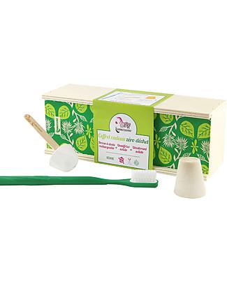 Lamazuna Cofanetto Regalo Cosmesi Bio Zero Spreco, Foglie Verdi - Spazzolino, dentifricio, deodorante Detergenza