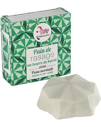 Lamazuna Crema per la Rasatura Solida Lui e Lei, 55 g - Burro di Karitè Bio con Profumo Té Verde Viso