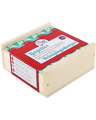 Lamazuna Salviette Detergenti Ecologiche con Cofanetto in Legno, Confezione da 10 - Riutilizzabili più di 300 volte! Salviette