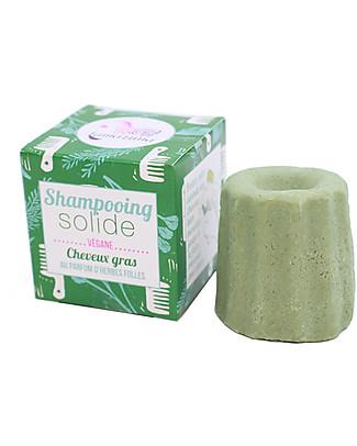 Lamazuna Shampoo Solido per Capelli Grassi, Erbe Folli - 55gr - Zero Plastica, 100% Naturale! Bagno Doccia Shampoo