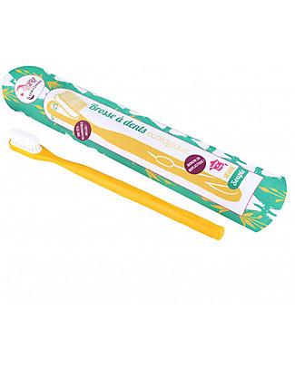 Lamazuna Spazzolino da Denti in Bioplastica Con Testina Intercambiabile, Giallo - Setole Morbide Detergenza