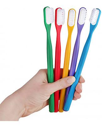 Lamazuna Spazzolino da Denti in Bioplastica Con Testina Intercambiabile, Rosso - Setole Medie Detergenza