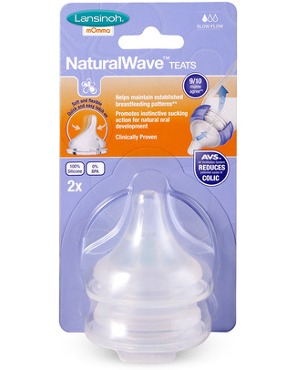 Lansinoh Tettarelle Natural Wave - Flusso Lento (pacco da 2) Biberon Anti-Colica