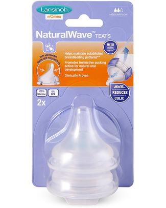 Lansinoh Tettarelle Natural Wave - Flusso Medio (pacco da 2) Biberon Anti-Colica