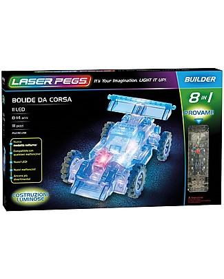 Laser Pegs Gioco di Costruzioni con Mattoncini Illuminati Bolide da Corsa 8 in 1, 111 pezzi e 11 LED Mattoncini da costruzione