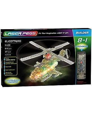 Laser Pegs Gioco di Costruzioni con Mattoncini Illuminati Elicottero 8 in 1, 127 pezzi e 11 LED Mattoncini da costruzione