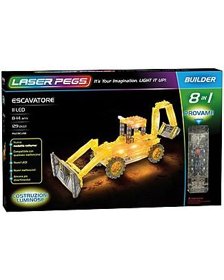 Laser Pegs Gioco di Costruzioni con Mattoncini Illuminati Escavatore 8 in 1, 129 pezzi e 11 LED Mattoncini da costruzione