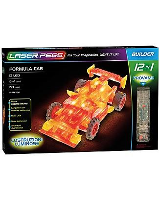 Laser Pegs Gioco di Costruzioni con Mattoncini Illuminati Formula Car 12 in 1, 153 pezzi e 13 LED Mattoncini da costruzione