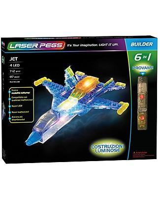 Laser Pegs Gioco di Costruzioni con Mattoncini Illuminati Jet 6 in 1, 87 pezzi e 4 LED Mattoncini da costruzione