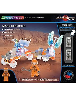Laser Pegs Gioco di Costruzioni con Mattoncini Illuminati Mars Explorer, 180 pezzi e 2 LED Mattoncini da costruzione