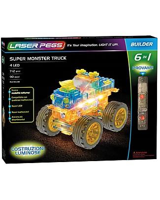 Laser Pegs Gioco di Costruzioni con Mattoncini Illuminati Super Monster Truck 6 in 1, 90 pezzi e 4 LED Mattoncini da costruzione