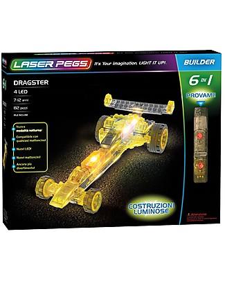 Laser Pegs Gioco di Costruzioni Dragster 6 in 1, 82 pezzi e 4 LED Mattoncini da costruzione