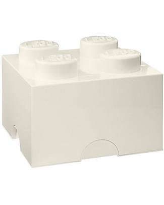 Lego Mattoncino Contenitore LEGO - Bianco - 4 Bottoncini Contenitori Porta Giochi