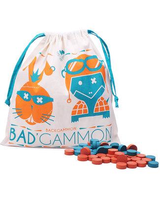 Les Jouets Libres Bad'gammon in Legno - Versione Rivisitata del Backgammon (sacchettino in cotone bio!) Giochi Da Tavolo