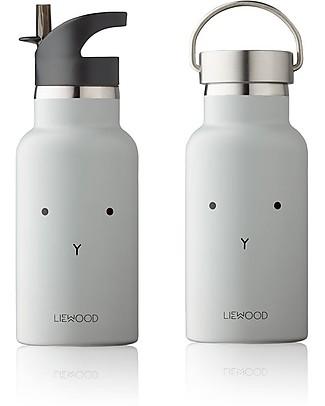 Liewood Borraccia Termica Bimbo in Acciaio con doppio tappo 350 ml, Coniglio Grigio Borracce Termiche