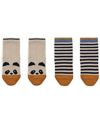 Liewood Calzini Silas, Panda/Righe Ecru, pacco da 2 - Cotone Elasticizzato Calzini