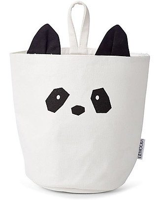 Liewood Cesto Portaoggetti da Appendere 18 x 14,5 cm, Panda Crema - 100% Cotone Bio Contenitori Porta Giochi