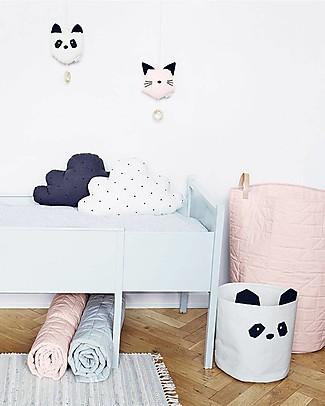 Liewood Cesto Portaoggetti Ella 30 x 25 cm, Panda Crema - 100% Cotone Bio Contenitori Porta Giochi