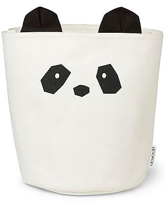 Liewood Ella Storage Basket 30 x 25 cm, Panda Creme de la Creme - 100% Organic Cotton Toy Storage Boxes