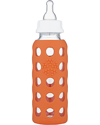 Lifefactory Biberon in Vetro e Silicone 250ml - Papaya Biberon In Vetro