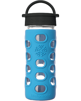 Lifefactory Borraccia in Vetro e Silicone 350 ml con Tappo a Vite Classic Cap, Azzurro Cobalto null