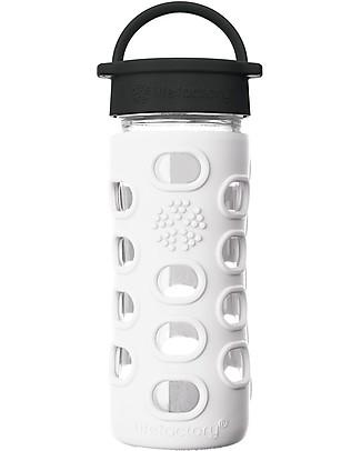Lifefactory Borraccia in Vetro e Silicone 350 ml con Tappo a Vite Classic Cap, Bianco Borracce Vetro