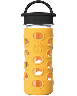 Lifefactory Borraccia in Vetro e Silicone 350 ml con Tappo a Vite Classic Cap, Giallo Calendula Borracce Vetro
