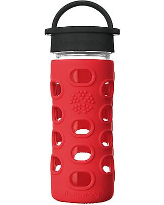 Lifefactory Borraccia in Vetro e Silicone 350 ml con Tappo a Vite Classic Cap, Rosso Mela Borracce Vetro