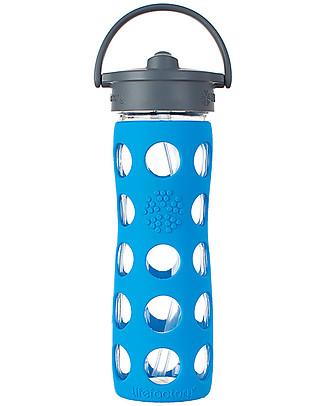 Lifefactory Borraccia in Vetro e Silicone con Cannuccia 475ml - Blu Mare Borracce Vetro