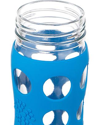 Lifefactory Borraccia in Vetro e Silicone con Cannuccia 650ml - Blu Oceano Borracce Vetro