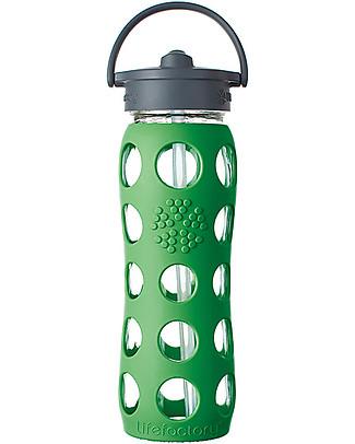 Lifefactory Borraccia in Vetro e Silicone con Cannuccia 650ml - Verde Bosco Borracce Vetro