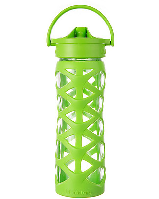 Lifefactory Borraccia in Vetro e Silicone con Cannuccia Axis, 475 ml - Lime Borracce Vetro
