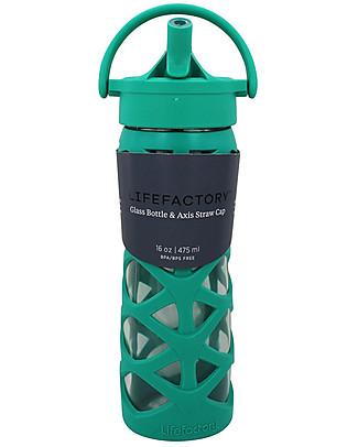 Lifefactory Borraccia in Vetro e Silicone con Cannuccia Axis, 475 ml - Verde Acqua Borracce Vetro